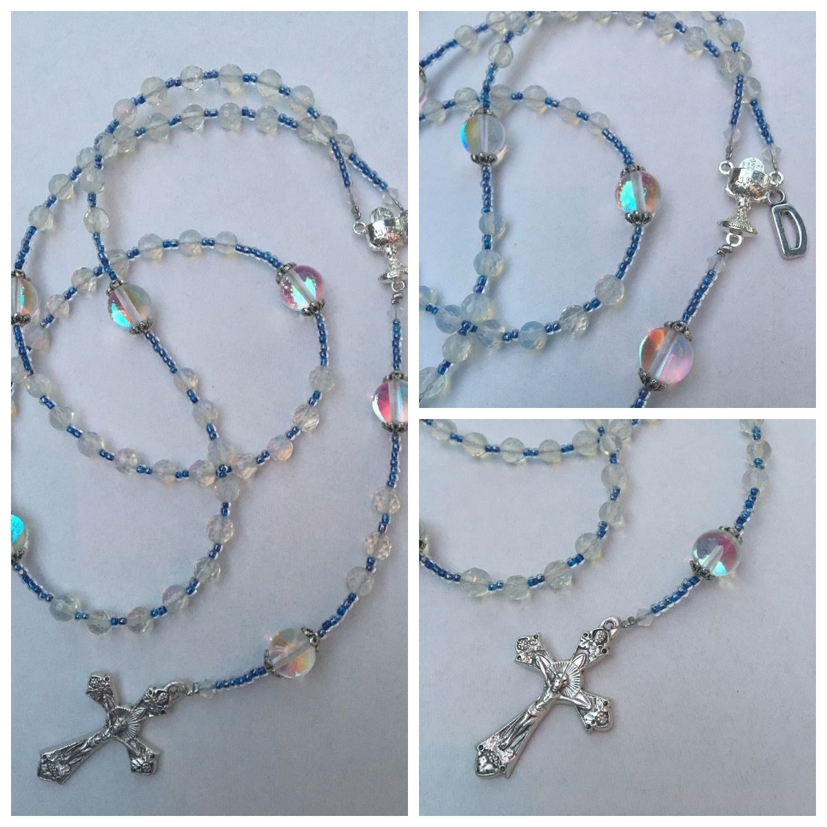 Confirmation rosary with initial charm