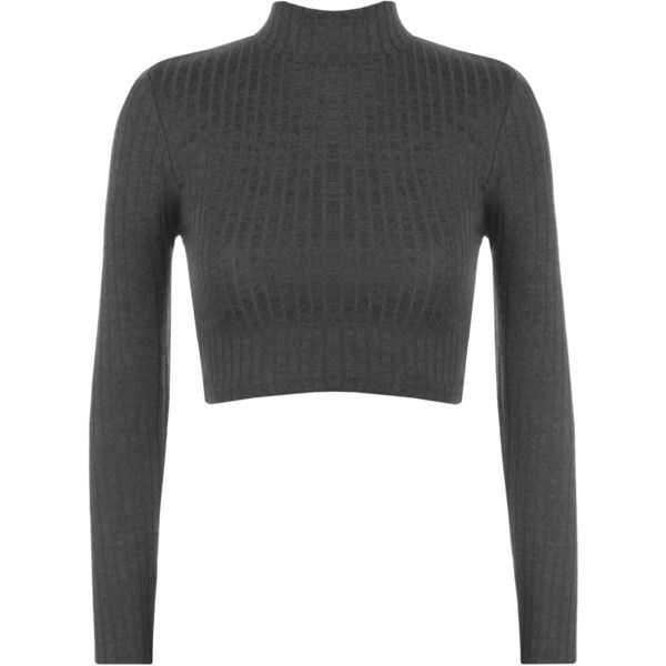 Darcie Turtle Neck Ribbed Crop Top ($17) ❤ liked on Polyvore ...