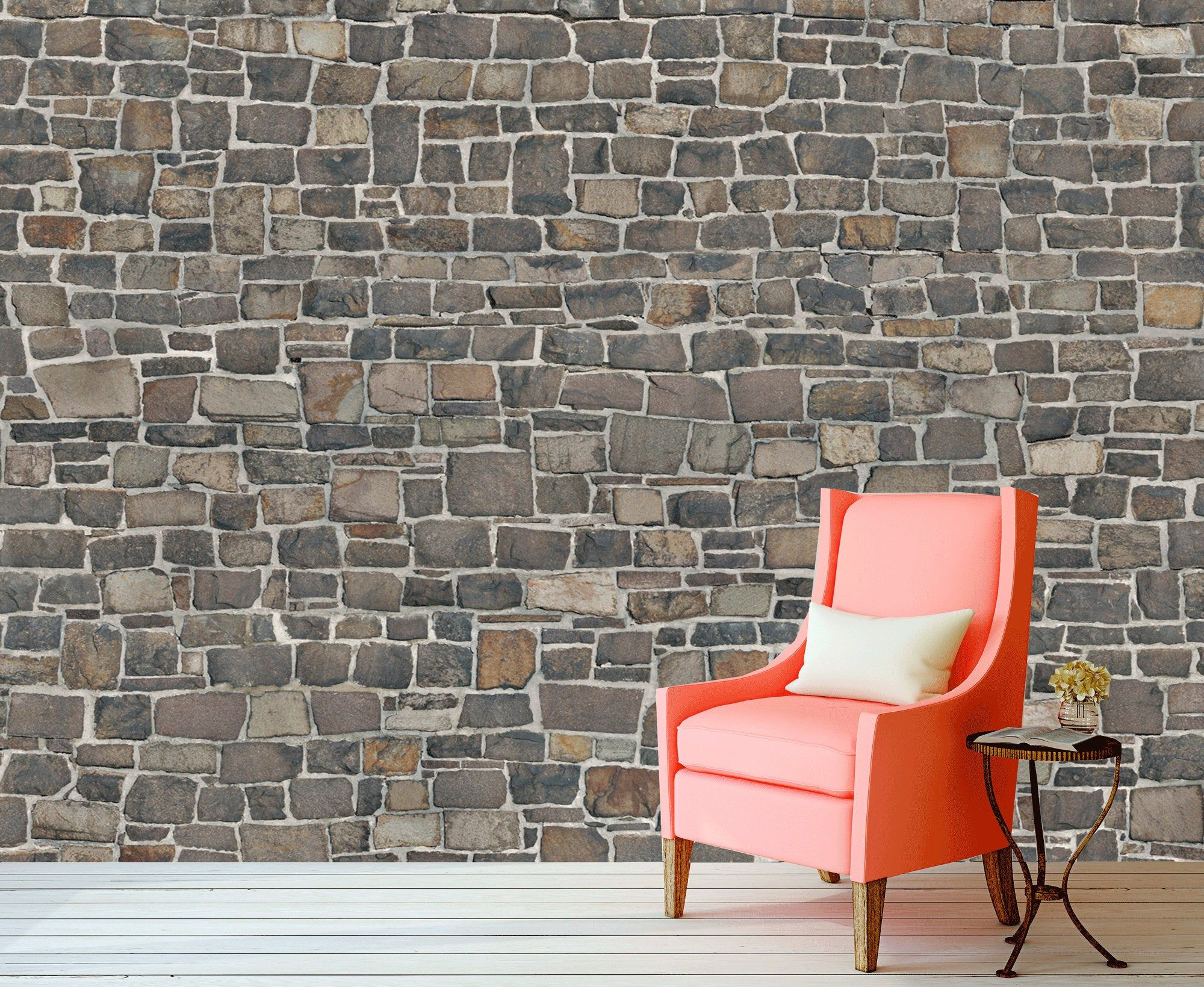 Grey Stone Brick Wall Mural For Living Room Grey Brown