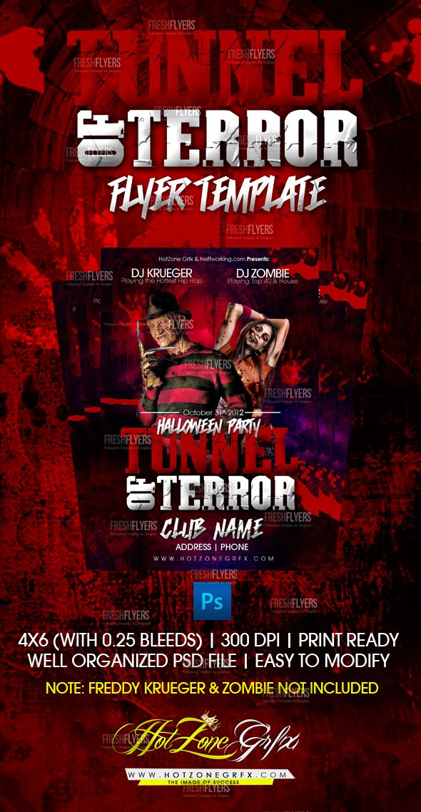 Tunnel Of Terror Flyer Template Halloween Flyer Templates Flyer