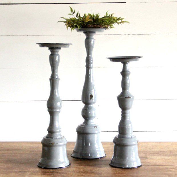 Rustic Metal Candle Holders Set Of 3