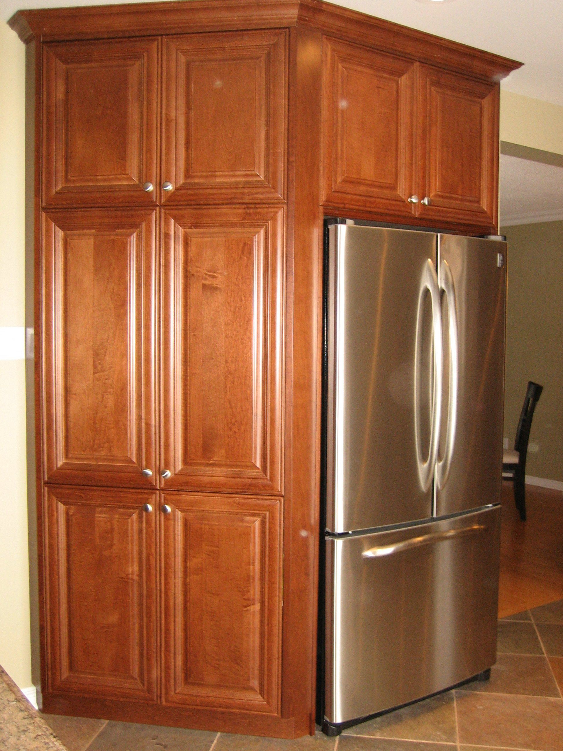 Angled Pantry Frames The Fridge Tall Cabinet Storage Kitchen Home Decor