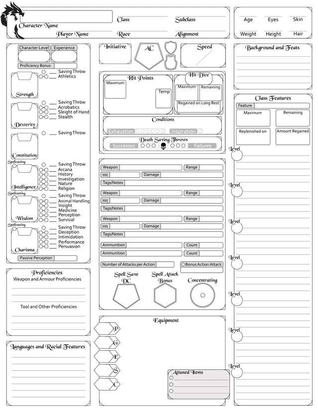 Complete Character Sheet 5e V 3 Now A Better Fillable Pdf With Tooltips Oc Dnd Dnd Character Sheet Character Sheet Template Character Sheet