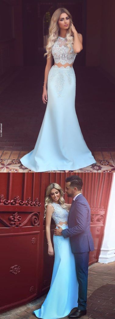8e9341e5ebe Fancy Mermaid Two Pieces Light Blue Satin Prom Dress with Lace ...