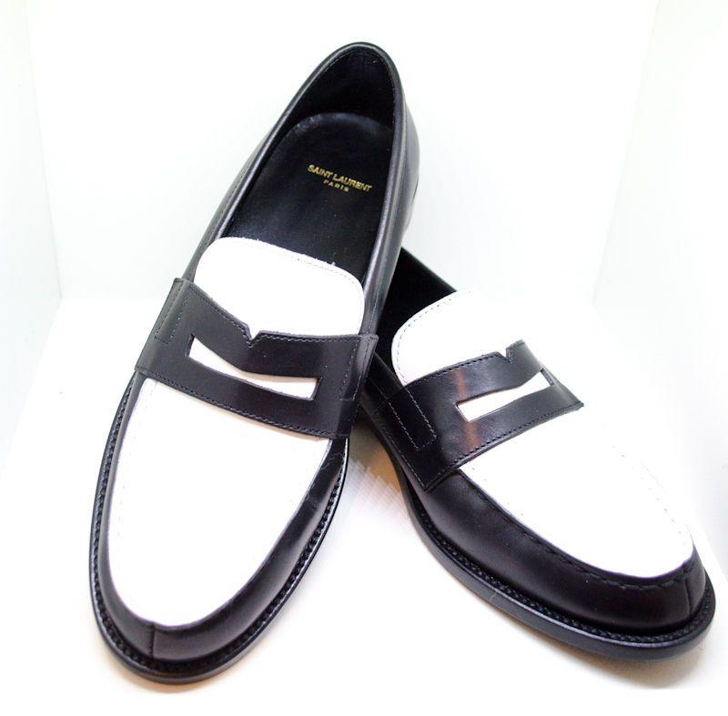 fd69f99606ab2 Saint Laurent Two Tone Black White Penny Loafer 37 7 6.5 #SaintLaurent  #LoafersMoccasins