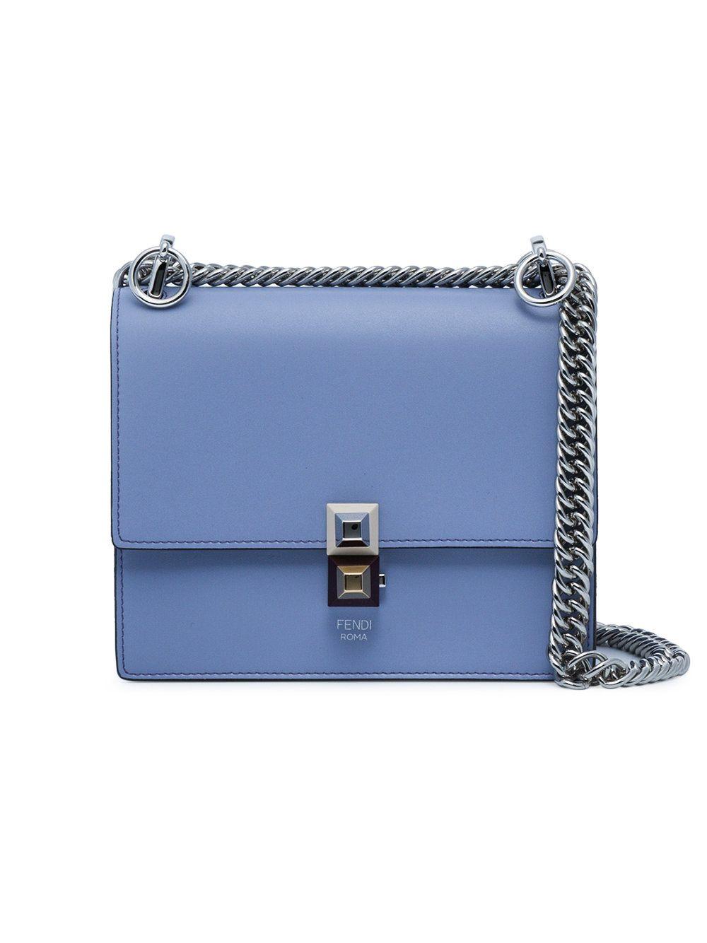 36ed1d871b Fendi Blue Kan I Small Leather Shoulder Bag