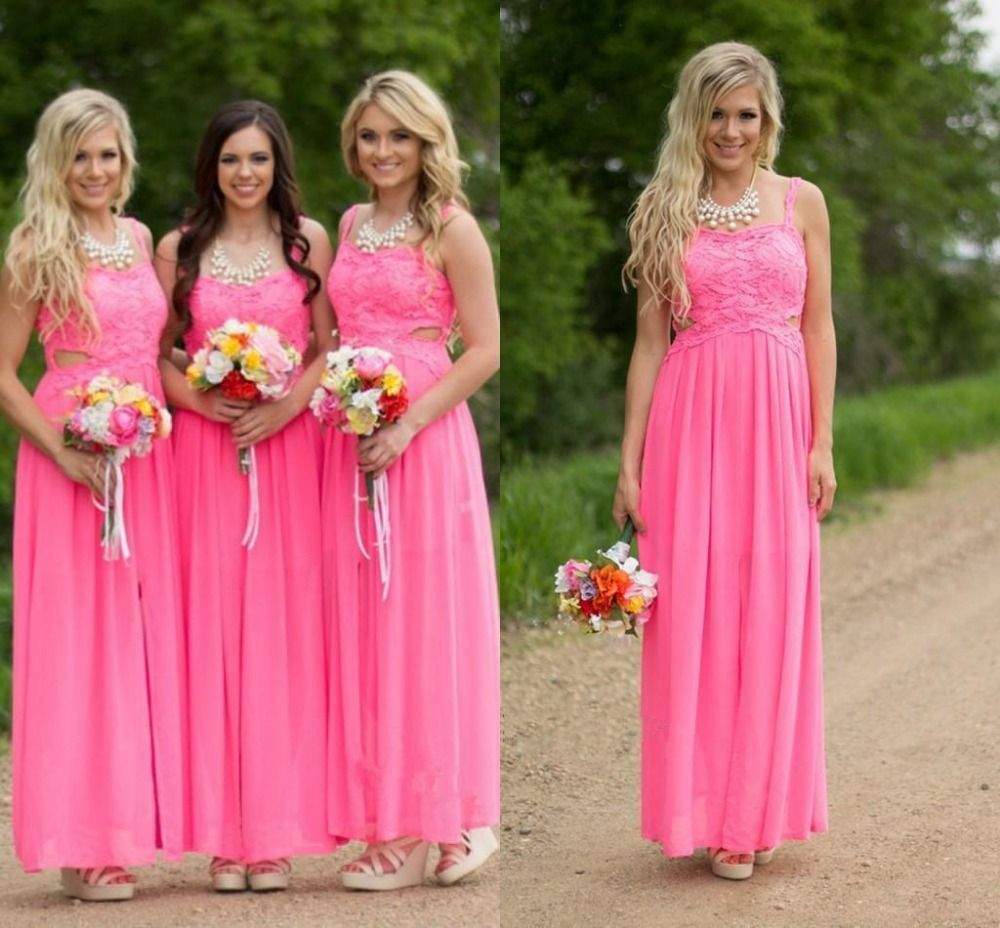 Country hot pink lace long chiffon bridesmaid dresses 2016 floor country hot pink lace long chiffon bridesmaid dresses 2016 floor length cheap sexy spaghetti straps beach ombrellifo Gallery