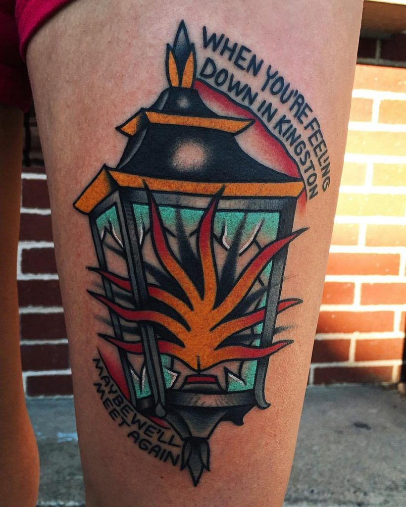 Quote When You Re Feeling Down In Kingston Maybe We Ll Meet Again And A Traditional Lantern Tattoo Traditional Tattoo Lantern Tattoo Tattoos