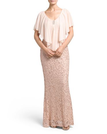 Gown+With+Multi+Chiffon+Overlay