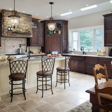 kitchen mahogany kitchen cabinets i like the dark wood lighter walls and floors and the lanterns above the island are pretty - Mahogany Kitchen Cabinets
