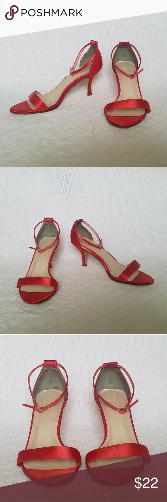 ddda82725 David s Bridal Red Heels David s Bridal red satin like heels.  Color is a  lighter red