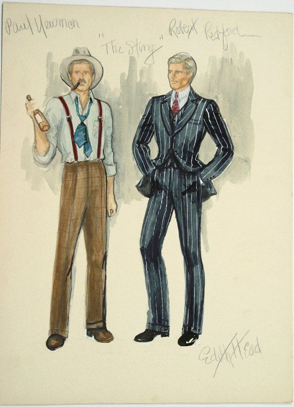 db5f596ef58e A great movie with fabulous costume design by Edith Head! Costume Sketch  for Robert Redford and Paul Newman in THE STING.
