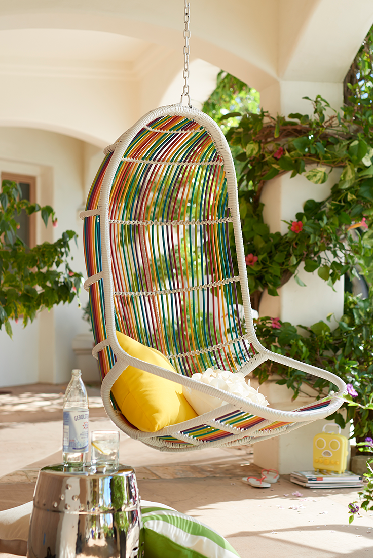 With an eye toward a more modern outdoor aesthetic, the Willow Swingasan® from Pier 1 has been constructed with a powder-coated steel frame and wrapped with multicolor, all-weather wicker. The back and seat feature thicker pieces of wicker designed to mimic a majestic willow. But you won't be weeping over this one.