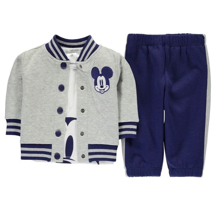 d51128ee6 Disney Baby Mickey Mouse Baseball Jacket Jokkers Outfit Set Grey ...