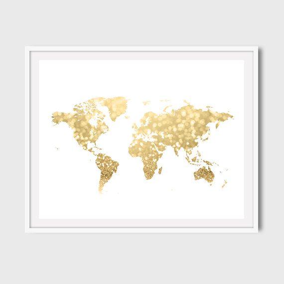 30x40 16x20 8x10 gold world map art print gold glitter printable gold world map art print white and gold map by yourlittleposter sciox Gallery