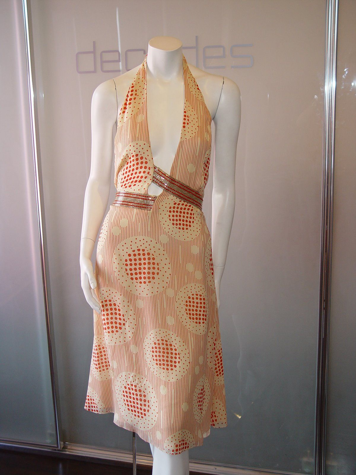 BILL BLASS 70S CHIFFON PRINT DRESS WITH BUGLE BEAD ASSYMETRIC BELT AND SASH