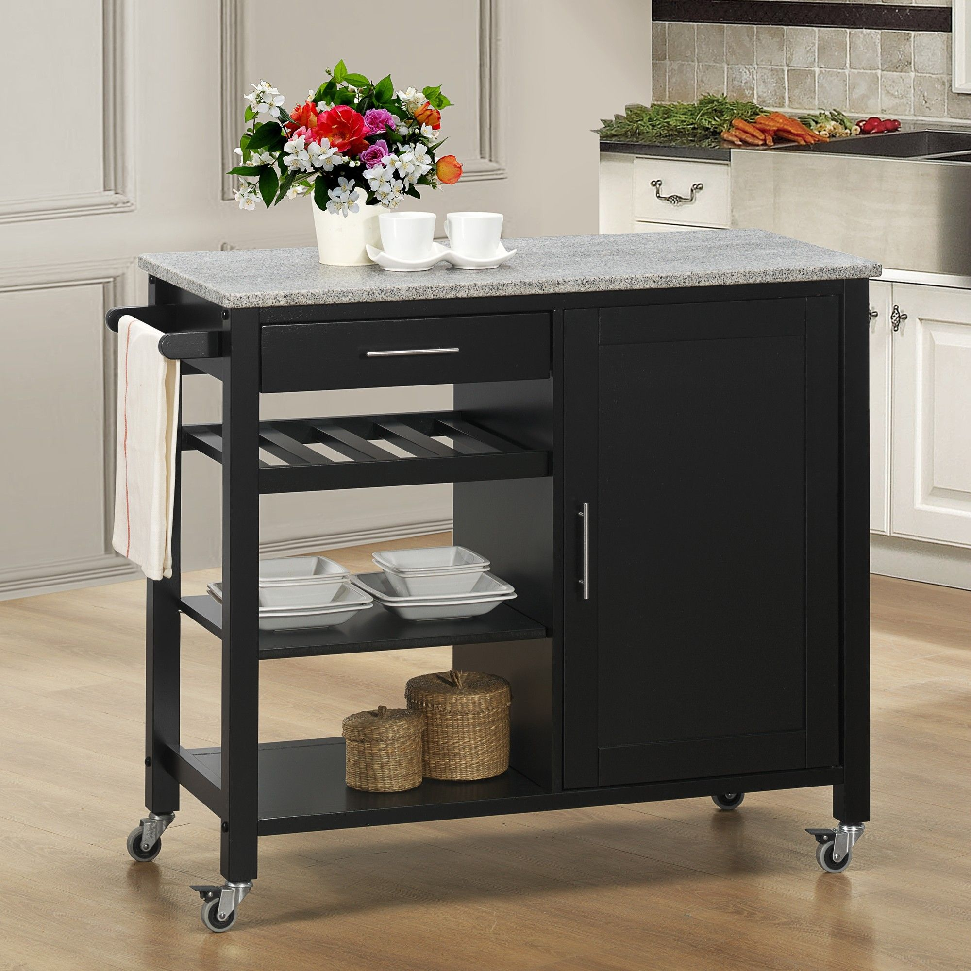 Sunset Trading Calgary Kitchen Island with Granite Top ...