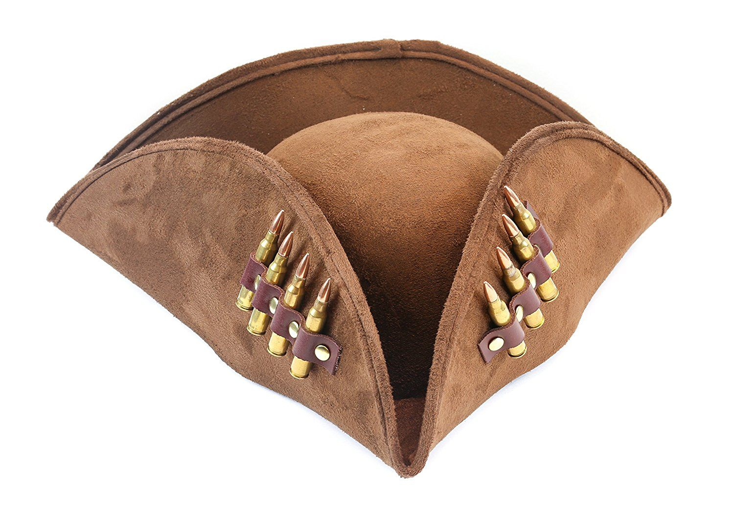 FANCY DRESS ADULT BROWN SUEDE PIRATE HAT WITH HAIR