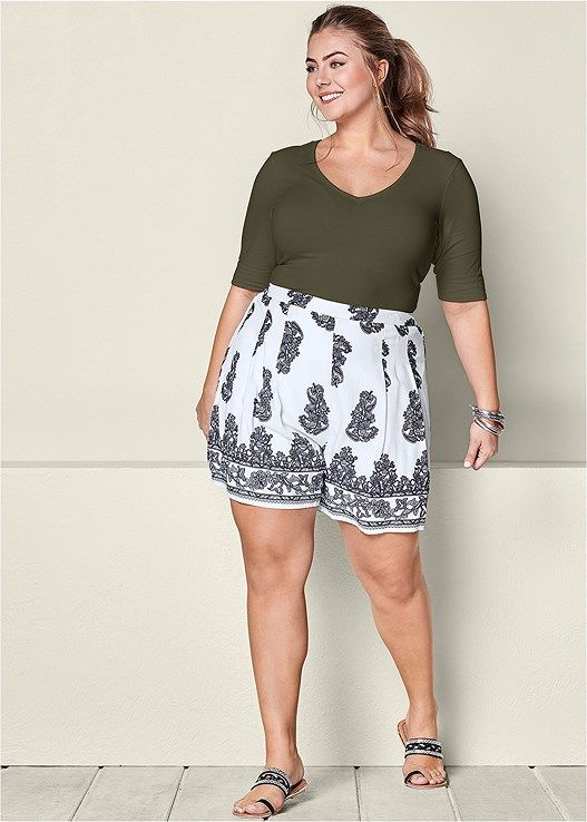 PAISLEY PLEATED SHORTS, LONG AND LEAN TEE, EMBELLISHED ...