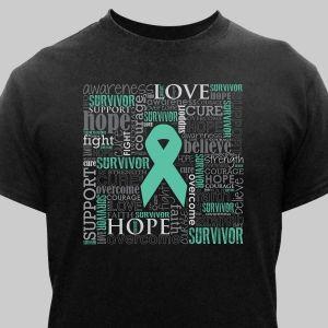 Teal Survivor Word-Art T-Shirt