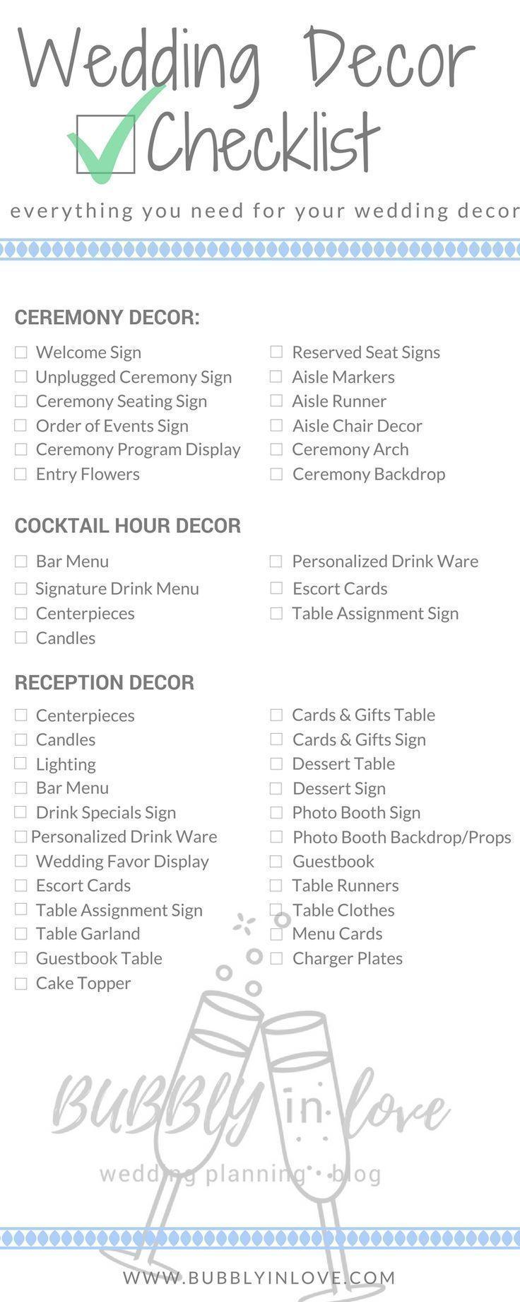 Wedding decorations checklist  Wedding Decor Checklist  Wedding Decor  Ceremony Decor  Reception