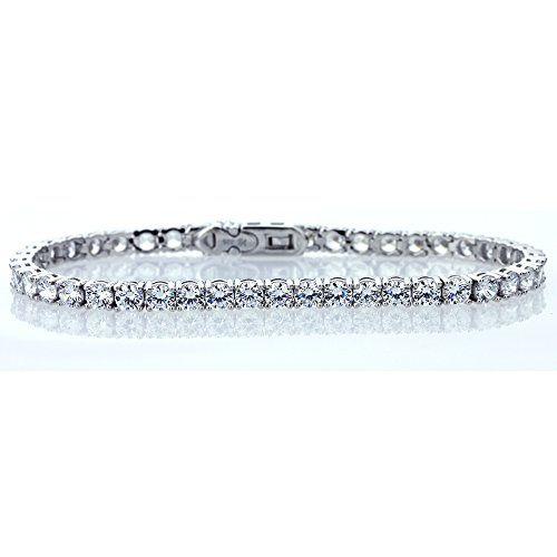 Sterling Silver Rhodium Plated 4mm Round Cut Cubic Zirconia Womens Tennis Bracelet ** Want additional info? Click on the image.