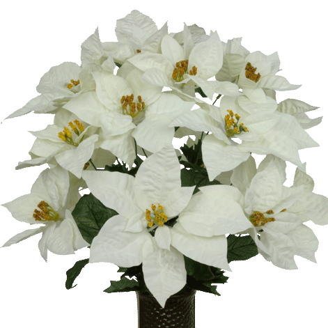 White Poinsettia Mix Lg1041 Cemetery Flowers Artificial Bouquet Fake Flowers
