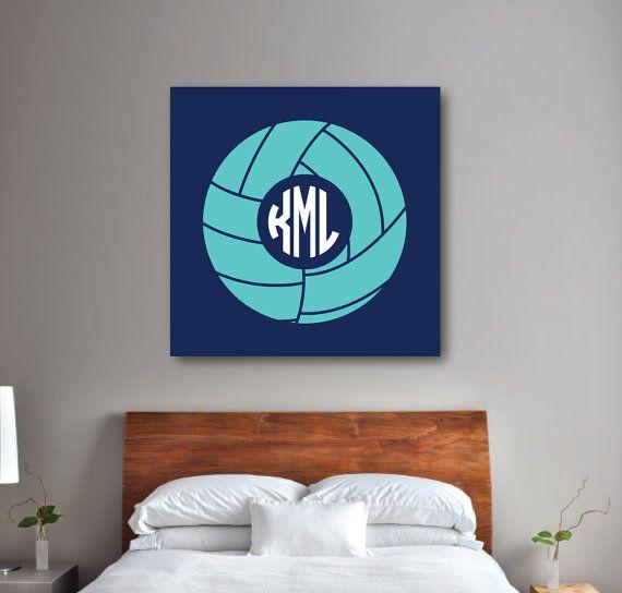 Volleyball Wall Art Girl's Bedroom Decor Volleyball CANVAS Navy Custom Volleyball Bedroom Decor
