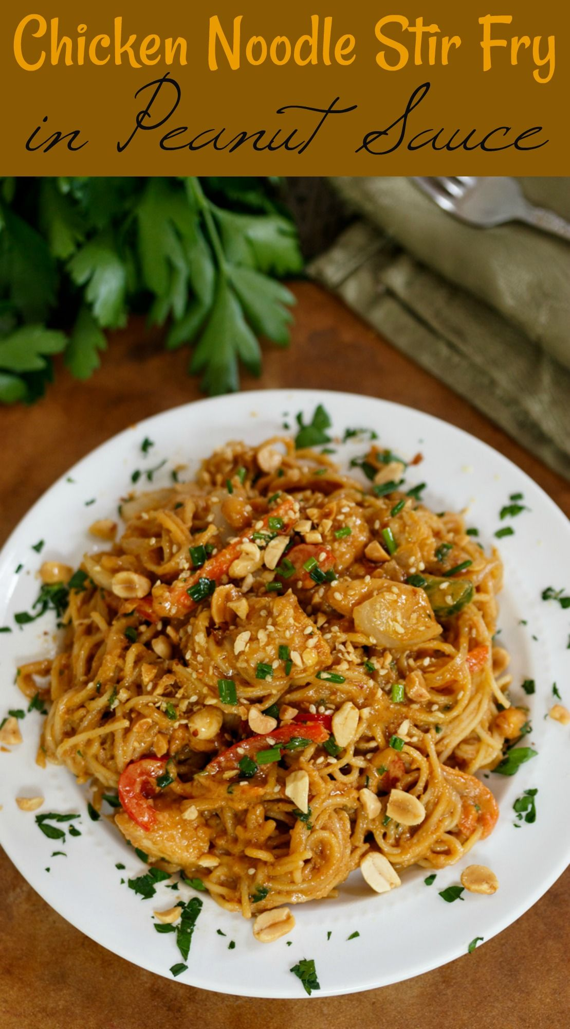 Spaghetti Noodles Chicken And Your Favorite Vegetables Tossed In A Savory Homemade P Chicken Stir Fry With Noodles Homemade Peanut Sauce Peanut Sauce Chicken