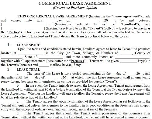 Printable Sample Commercial Lease Agreement Form | Real Estate