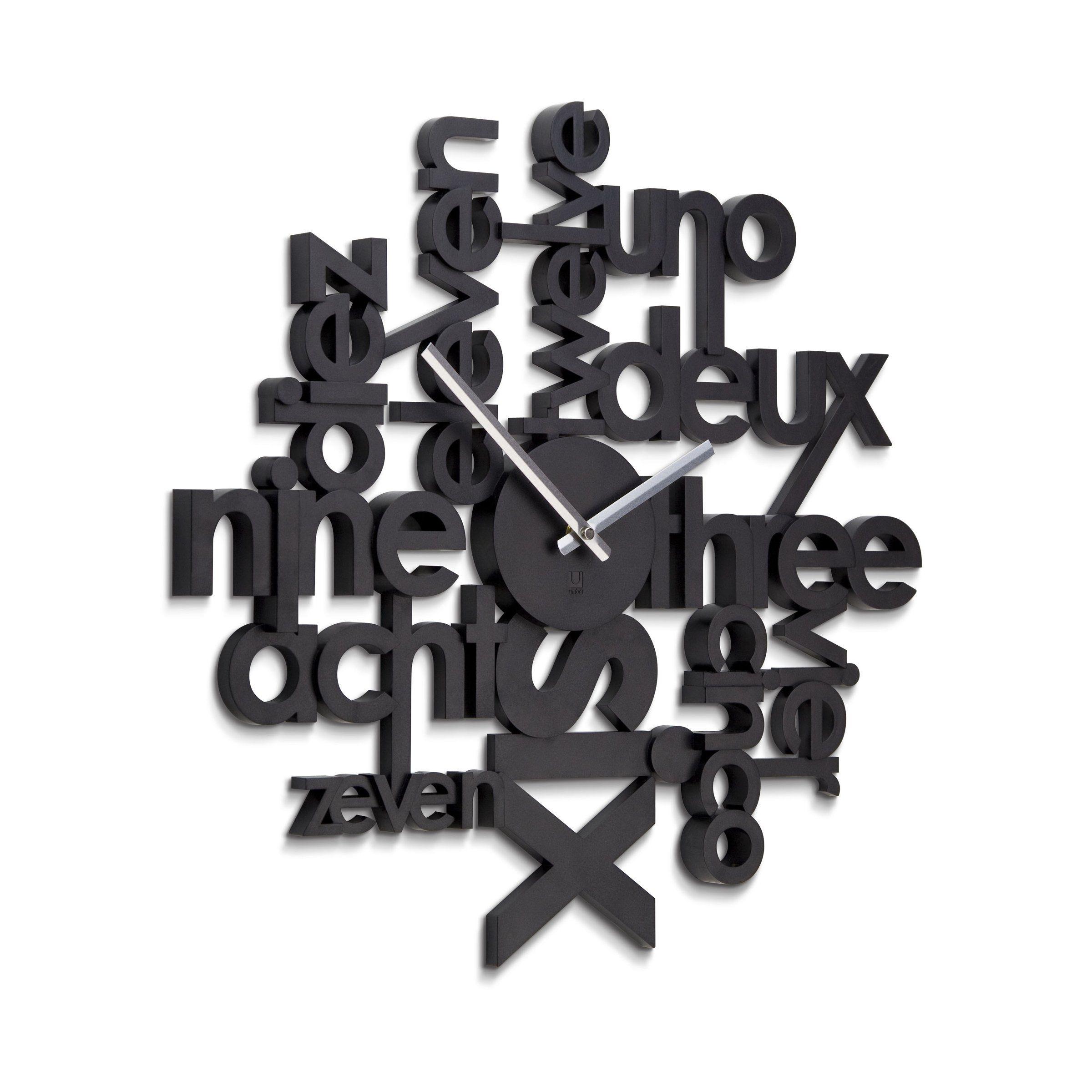 Umbra 118990 040 lingua wall clock schwarz amazon de küche