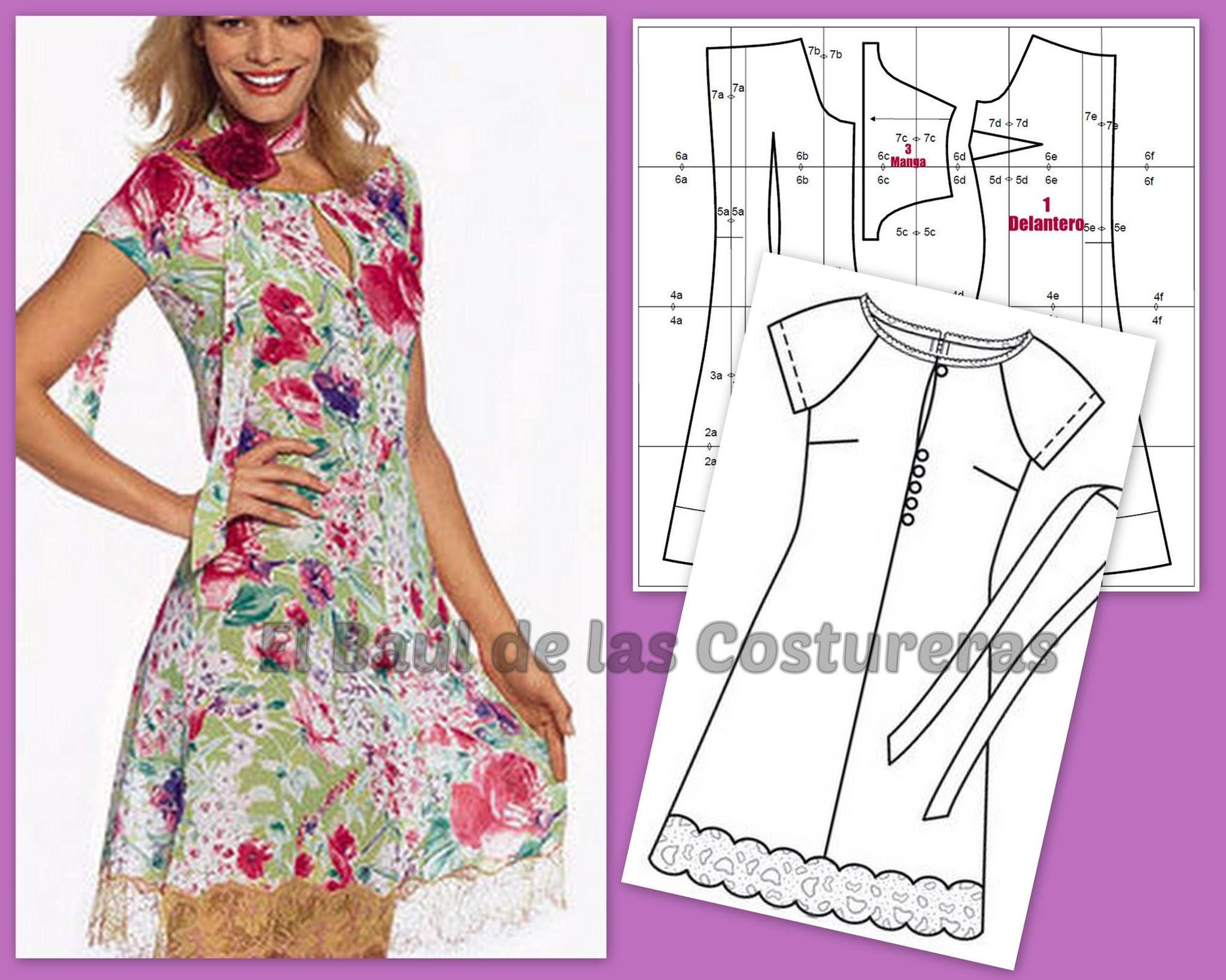Patrón gratis Vestido 127 Burda, transformado en Blusa | Boceto ...