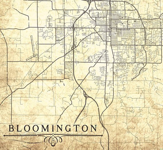 BLOOMINGTON IN Canvas Print IN Indiana Town City Plan Vintage map
