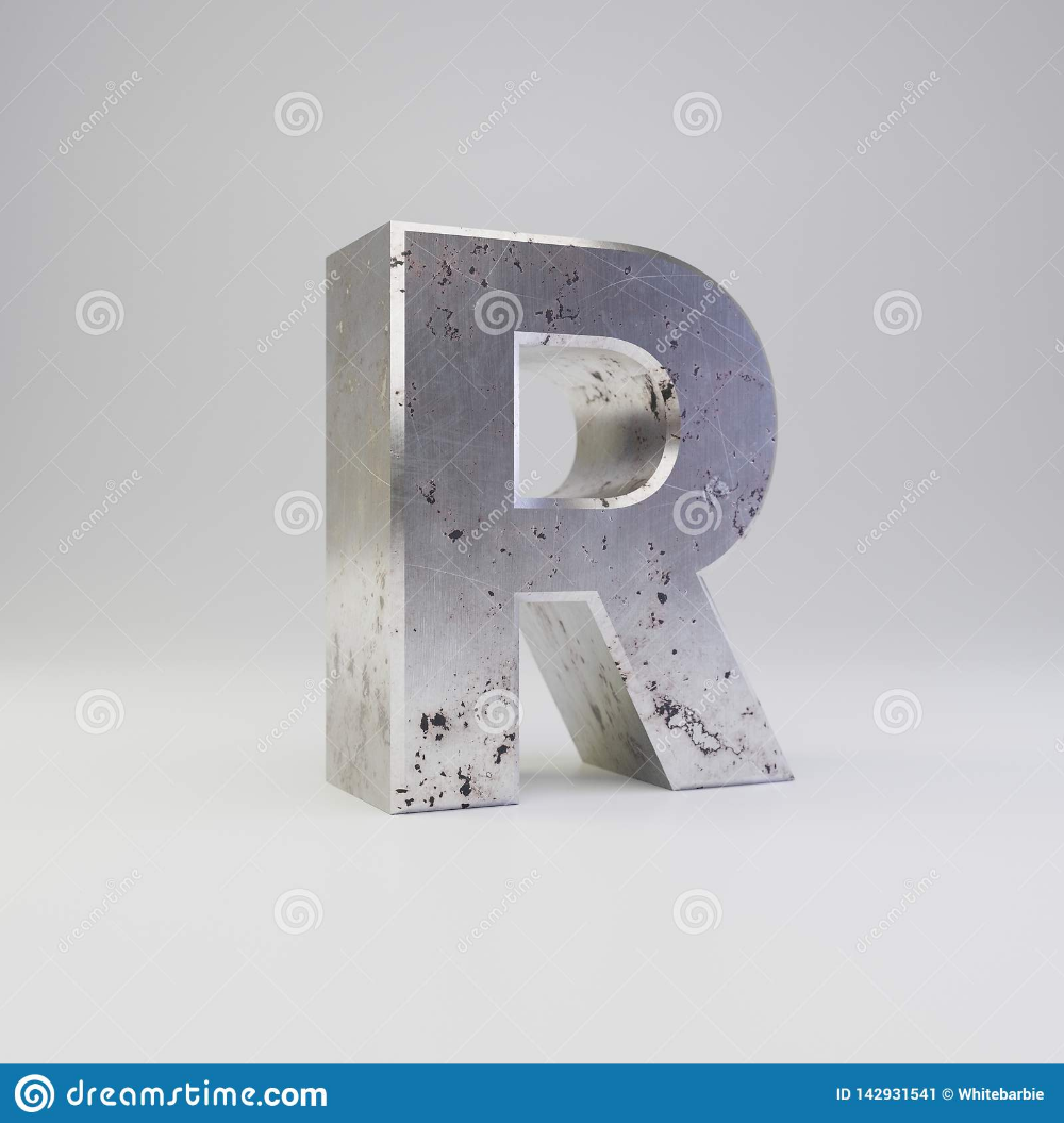Metal Letter R Uppercase 3d Render Scratched Rusty Metal Font Isolated On White Background Stock Illustration Illustrat Metal Font Metal Letters Rusty Metal