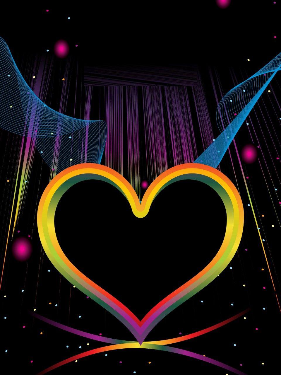 Colorful Hearts On Black Backgrounds Elsoar Heart Background Colorful Heart Heart Wallpaper