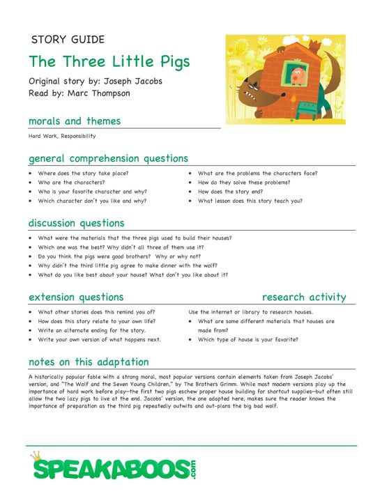 Lesson Plans The Three Little Pigs Speakaboos Worksheets
