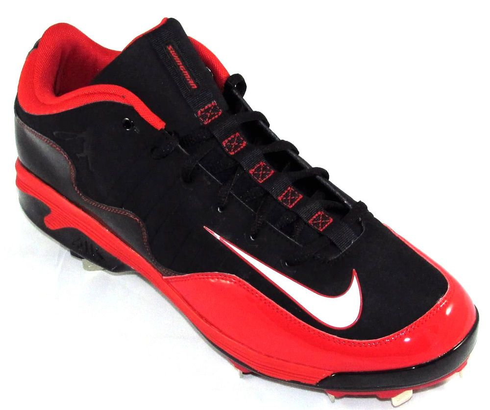 Mens Nike Air Swingman Remix 2 Low Metal Baseball Cleats Size 13 Red/Black #
