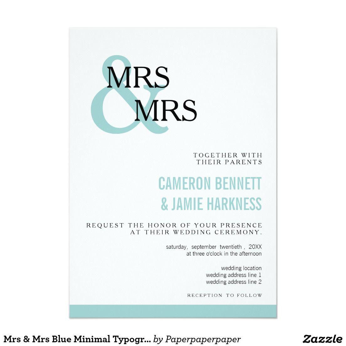 Mrs & Mrs Blue Minimal Typography Wedding | MODERN WEDDING ...