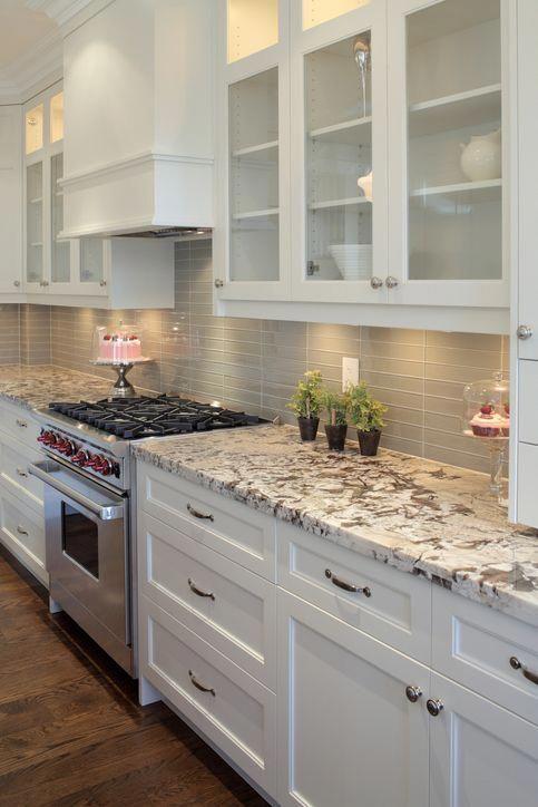 Best Wood Floor White Cabinets Medium Granite Counter Gray 400 x 300