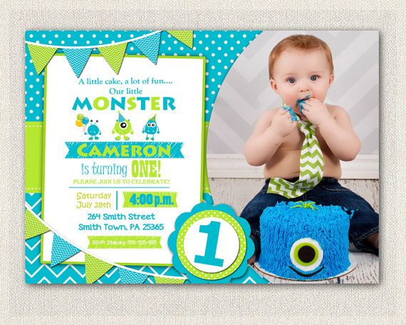1st birthday invitation boys green blue by pixieperfectparties