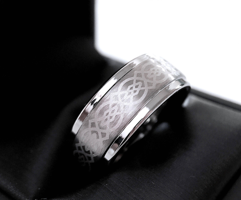 Celtic Ring Mens Tungsten Ring Celtic Wedding Bands Tungsten