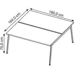 Photo of Quadrifoglio double desk white rectangular QuadrifoglioQuadrifoglio