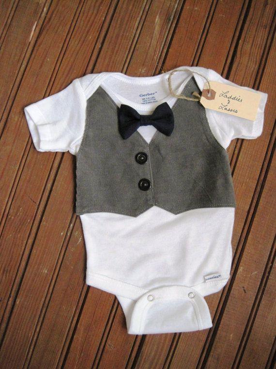 ceab7c0476b80 Gray Corduroy Vest Onesie with Black Bow Tie, Vest Onesie, Bow Tie ...