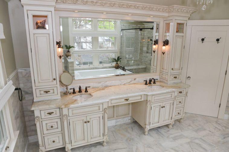 Bathroom White Colonial Makeup Vanity Cabinet With Double Sink Vanity Include Big Mi Master Bathroom Vanity Bathroom With Makeup Vanity Double Vanity Bathroom