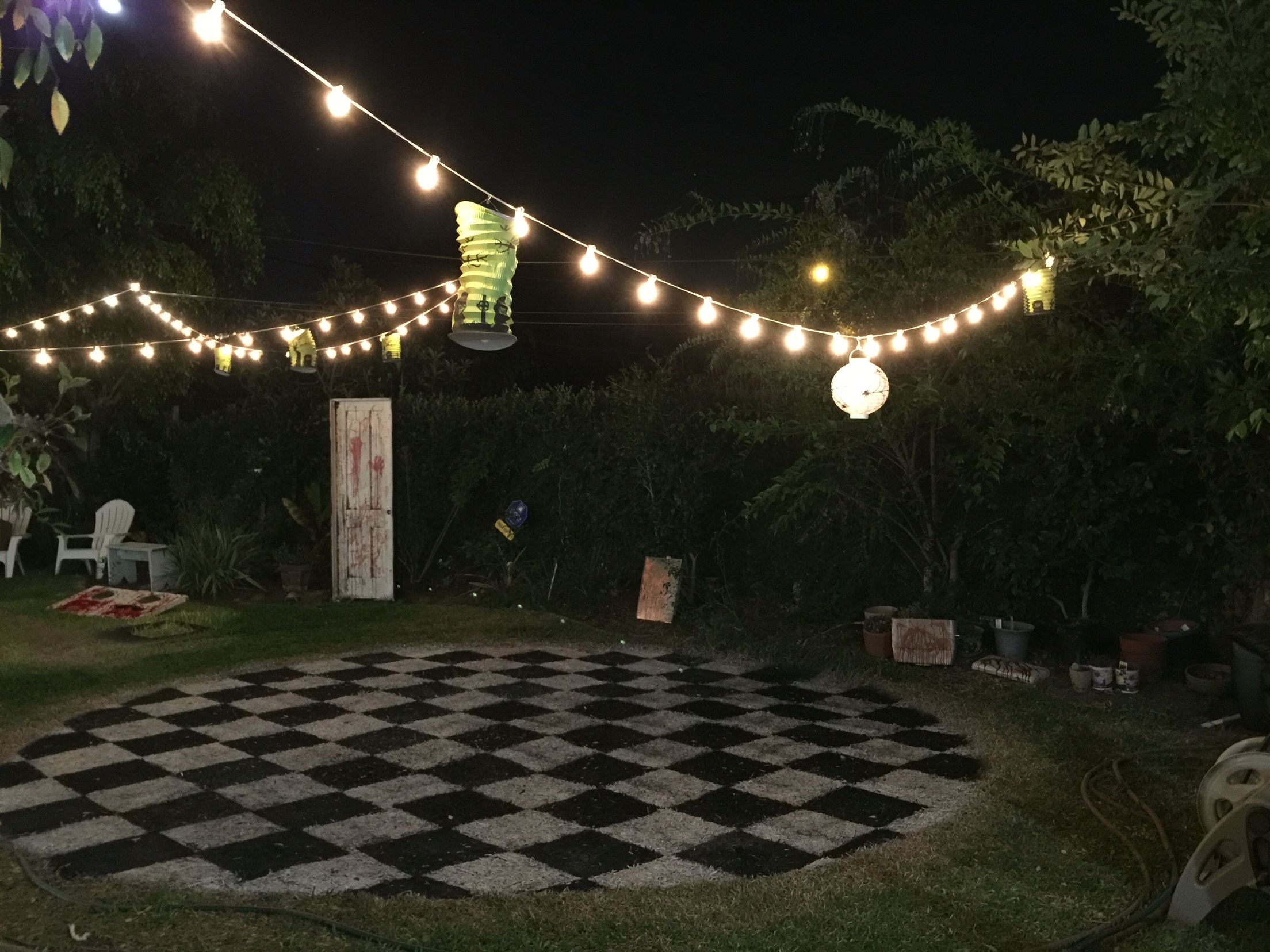 Dance Floor Idea Not Checkered But Painted To Designate Maybe Place Plant Hangers With Lights On The Edges Terrazas