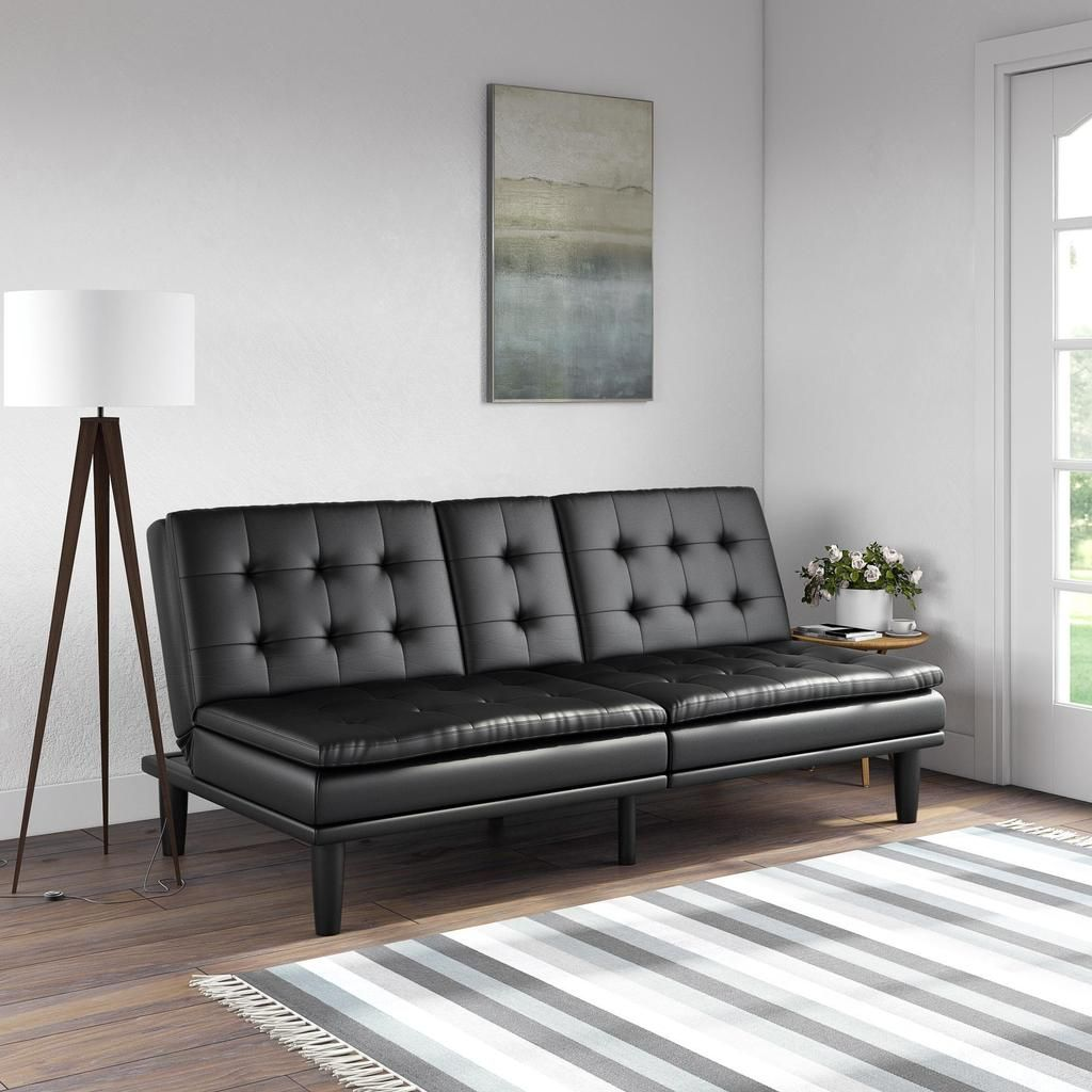 Mainstays Memory Foam Faux Leather PillowTop Futon with