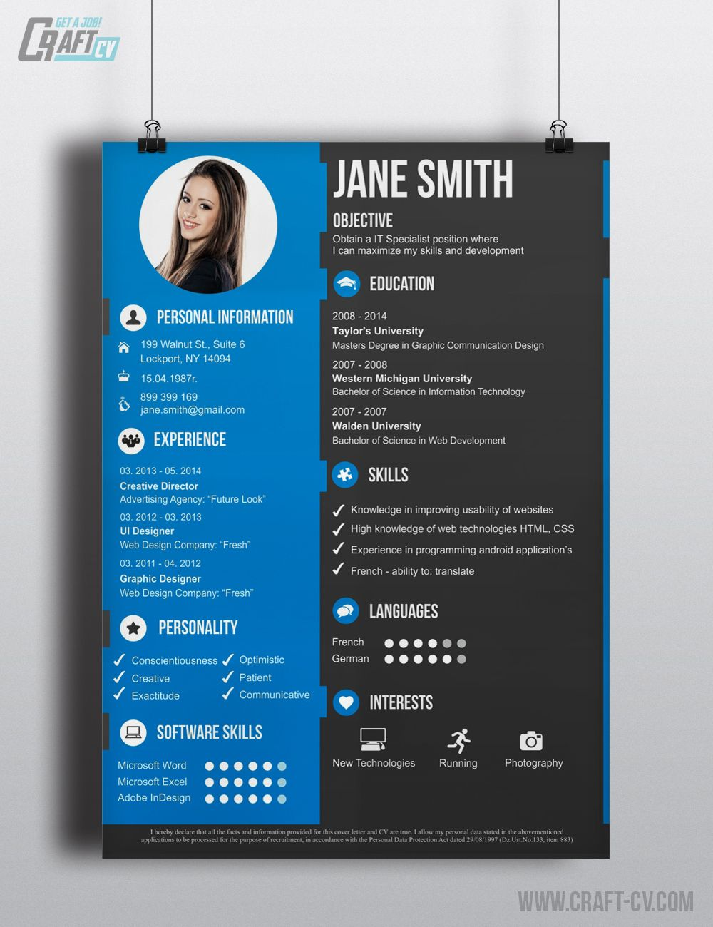 want to have awesome creative cv  go to craft