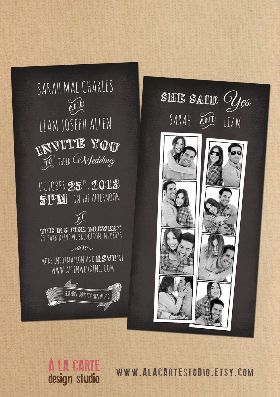 Photo Booth Snapshots Chalkboard Inspired Wedding Invitation Suite 4000 Via Etsy