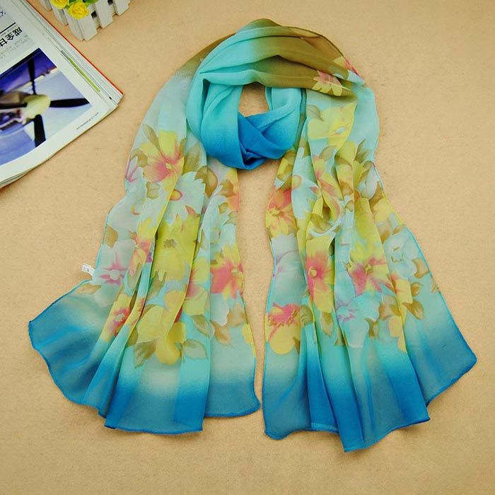 Women Gradual Change Floral Long Chiffon Wraps Shawl Soft Scarves