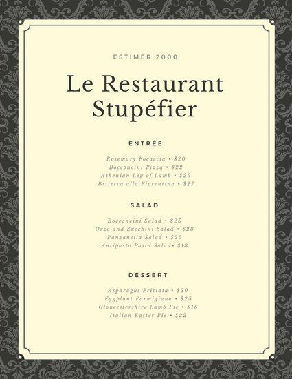 Eiffel Tower Illustration French Restaurant Menu